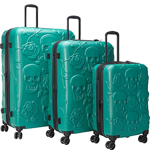 Cool Skulls and Roses Design GREEN Color 3 Piece Luggage Set