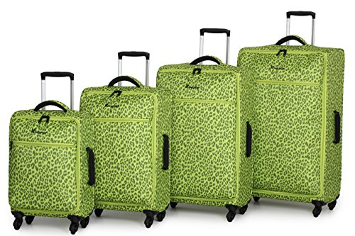 Fun Leopard Print Green Suitcases