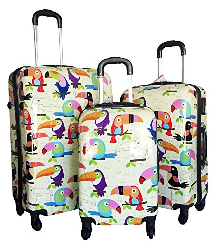Colorful Toucan Birds Design Luggage Set