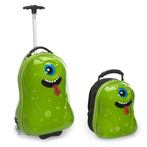 Fun Green Alien Suitcases for Kids