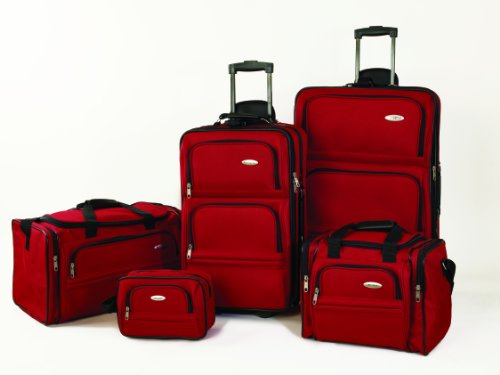Bright Red 5 Piece Nested Luggage Set