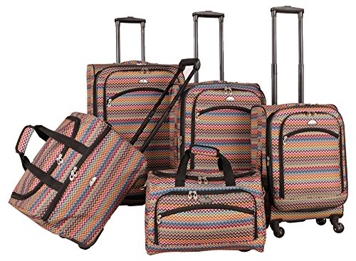 Colorful Chevron Design 5 Piece Luggage Set