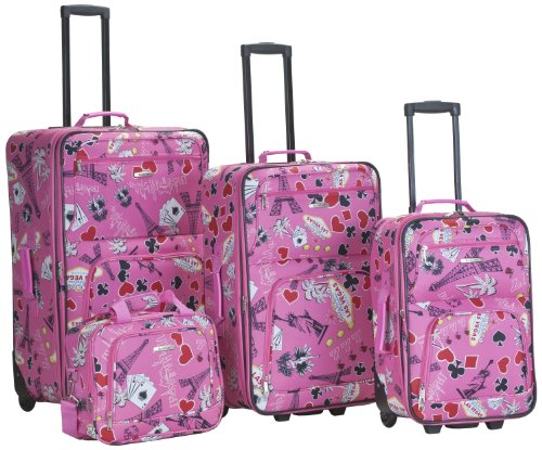 Cheap Pink 4 Piece Printed Luggage Set