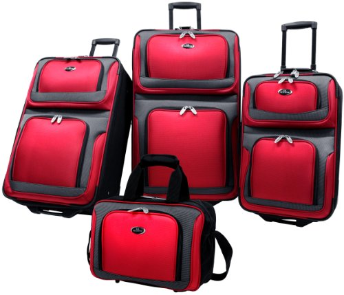 Stylish 4 Piece RED Luggage Set Expandable