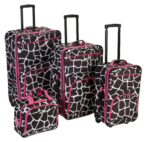 Cheap Giraffe Print Four-Piece Luggage Set