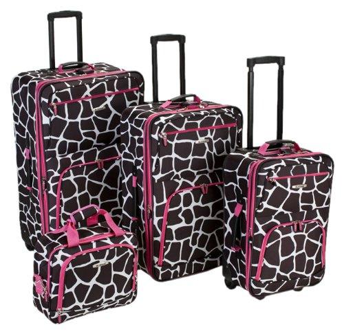 Cheap Giraffe Print Four-Piece Luggage Set