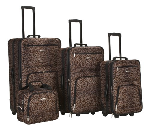 cheap Brown Leopard 4 Piece Luggage Set for Sale