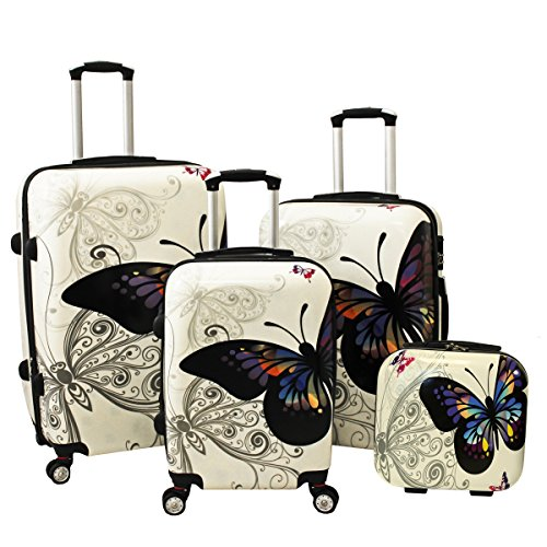 Affordable Butterfly 4 Piece Luggage Set
