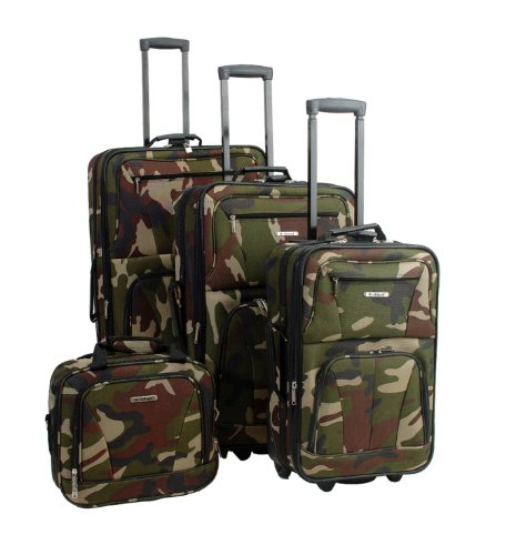 Fun Camo Print 4 Piece Rolling Luggage Set