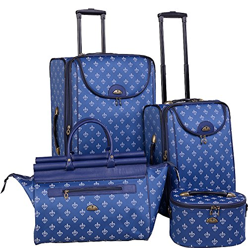 American Flyer Luggage Fleur De Lis 4 Piece Set Blue