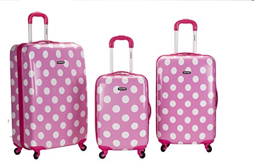 Pink Polka Dots Upright Luggage Set