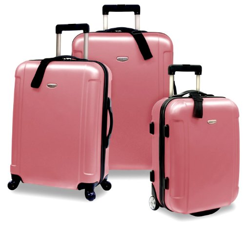 Rose Pink 3-Piece Hardside Spinner/Rolling Luggage Set