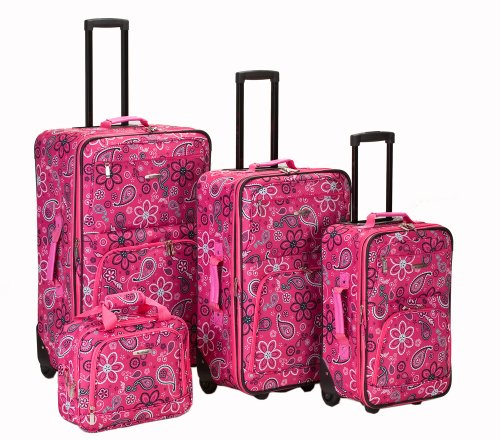 Pink Floral 4 Piece Luggage Set