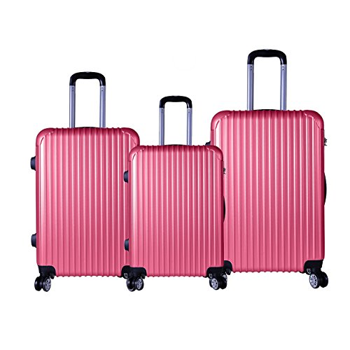 Rose Pink 3 Pc Hard Luggage Set