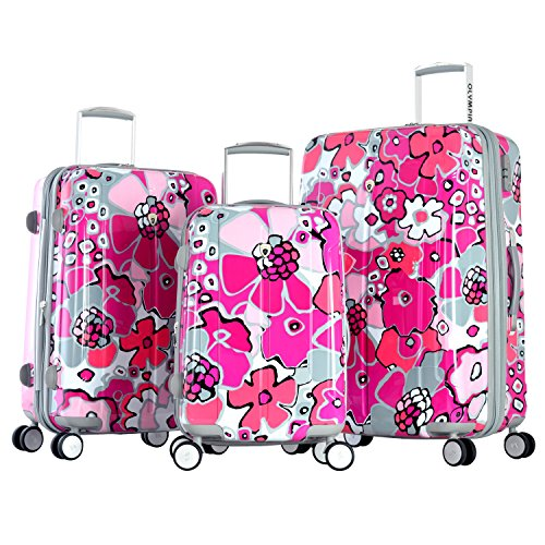 pink flowers luggage
