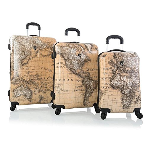 world map print luggage