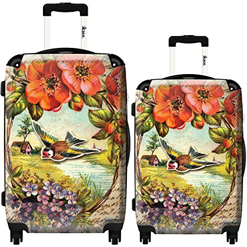 Pretty Bird and Flowers Luggage Set