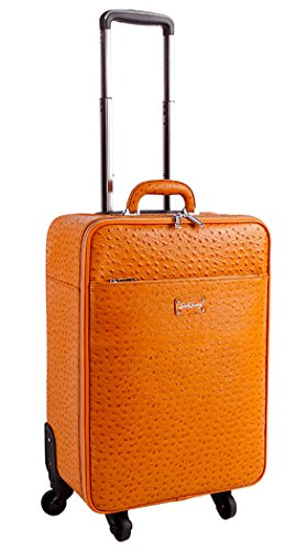 Ostrich Pattern Cowhide Leather Orange Carry-on Suitcase