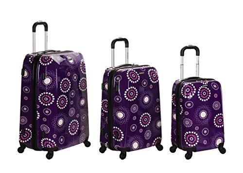 Purple Floral Luggage Set