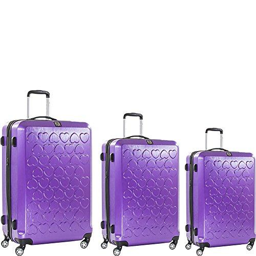 Purple Hearts Design 3-Piece Luggage Set